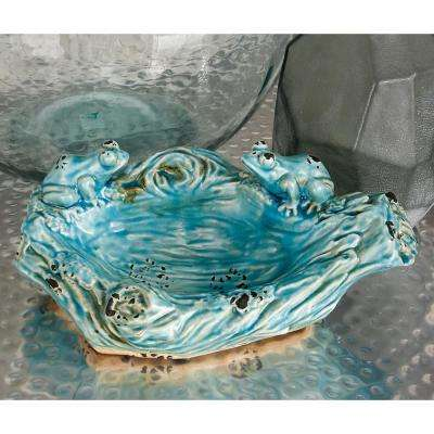 Turquoise Decorative Log Bowl with Frog Figures