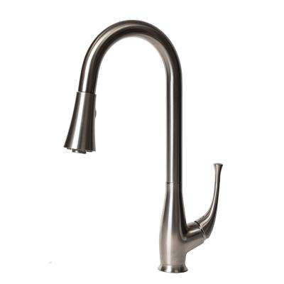 Castor Single-Handle Pull-Down Sprayer Kitchen Faucet in Stainless Steel