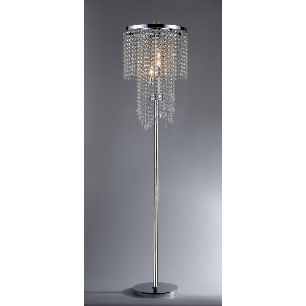 3 Light Indoor Chrome Crystal Floor Lamp With Foot Switch