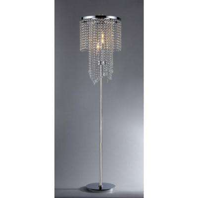 Diana 63 in. 3-Light Indoor Chrome Crystal Floor Lamp with Foot Switch