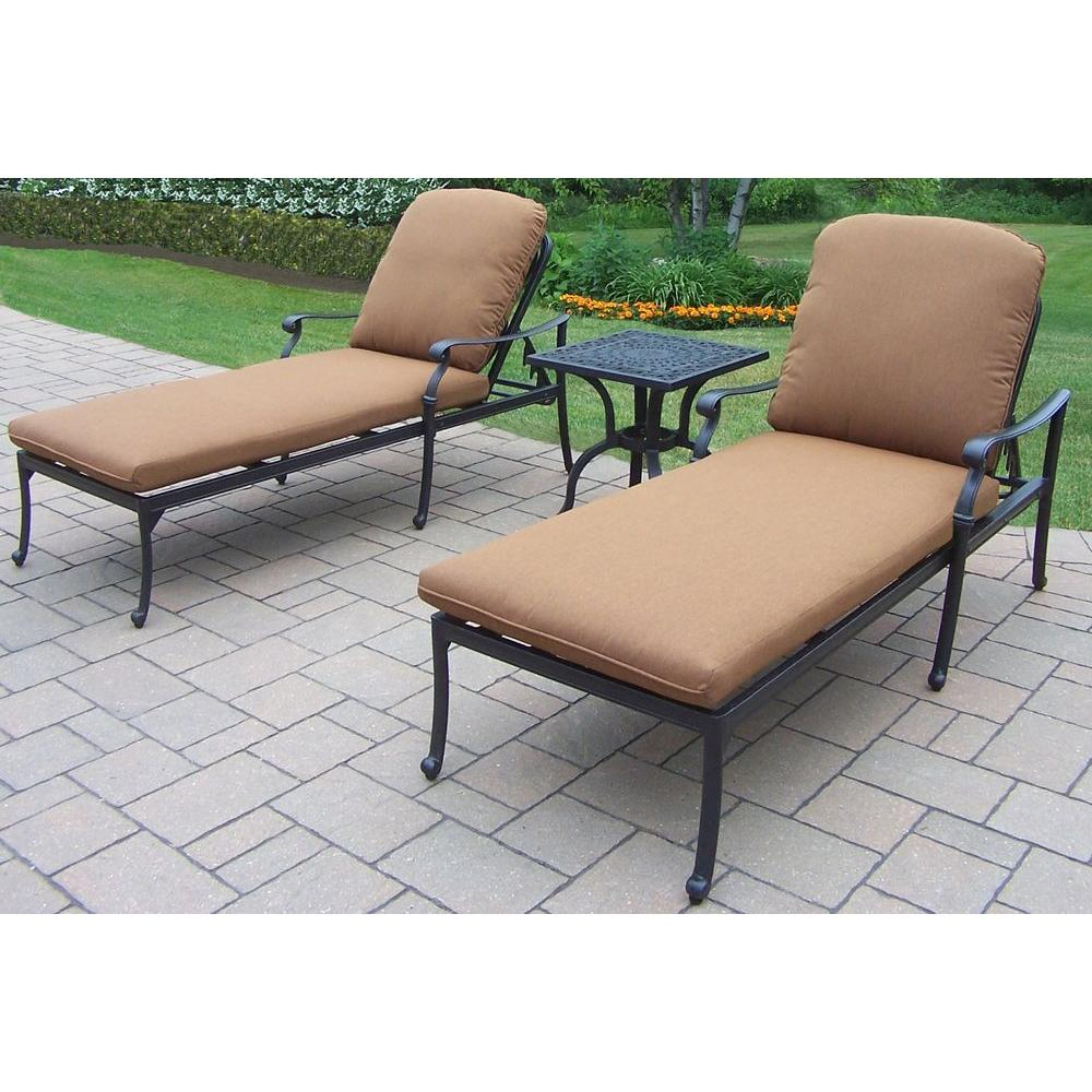 oakland living hampton 3 piece patio chaise lounge set with sunbrella cushions 7209 7210 5 d54. Black Bedroom Furniture Sets. Home Design Ideas
