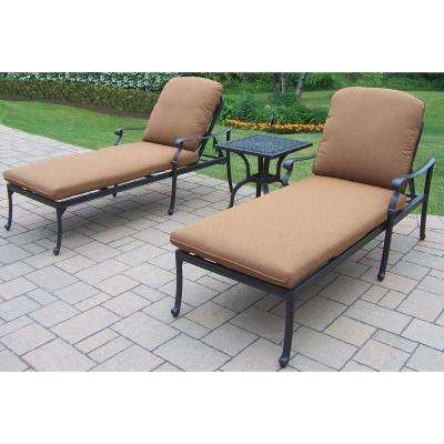 Hampton 3-Piece Patio Chaise Lounge Set with Sunbrella Cushions