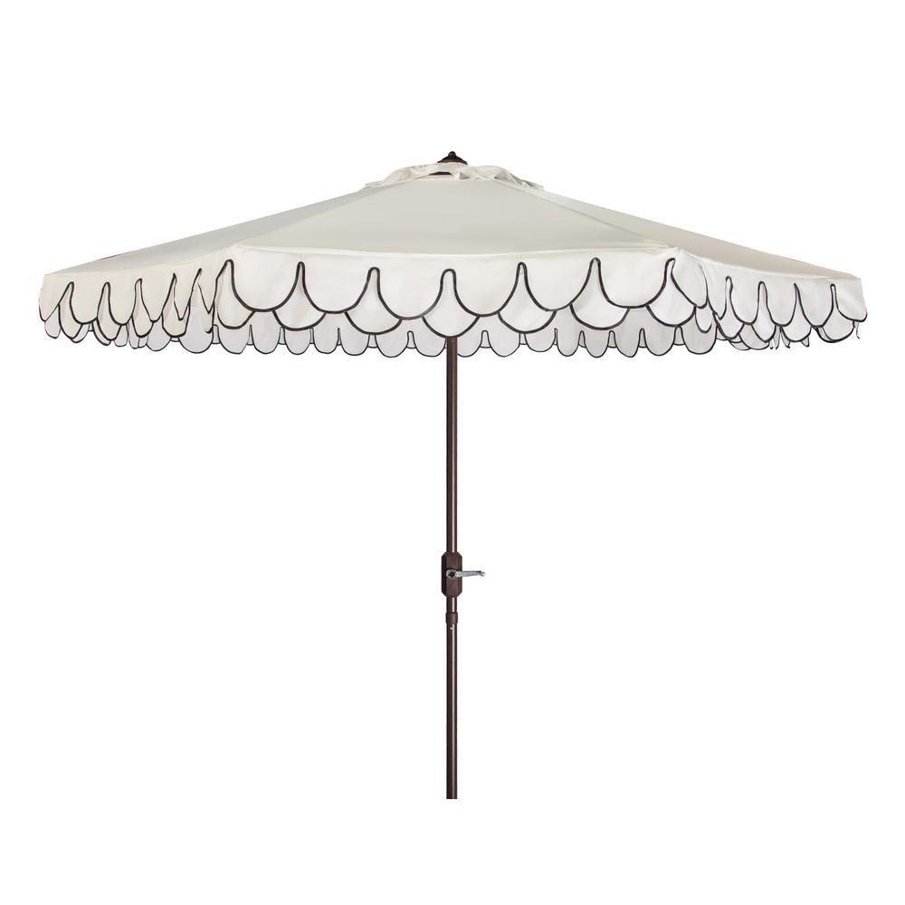 Elegant Valance 9 ft. Aluminum Market Auto Tilt Patio Umbrella in White/Black