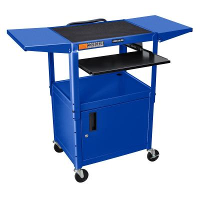 Adjustable Height 24 in. Steel A/V Cart with Pullout Shelf Drop Leaf and Cabinet in Blue
