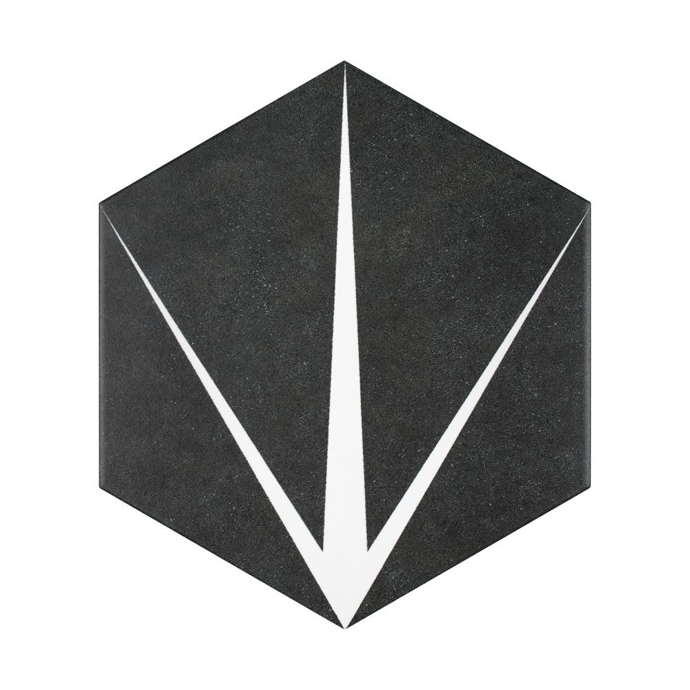 Merola Tile Merola Tile Trident Hex Nero Encaustic 8-5/8 in. x 9-7/8 in. Porcelain Floor and Wall Tile (11.56 sq. ft. / case), Black and White / Medium Sheen