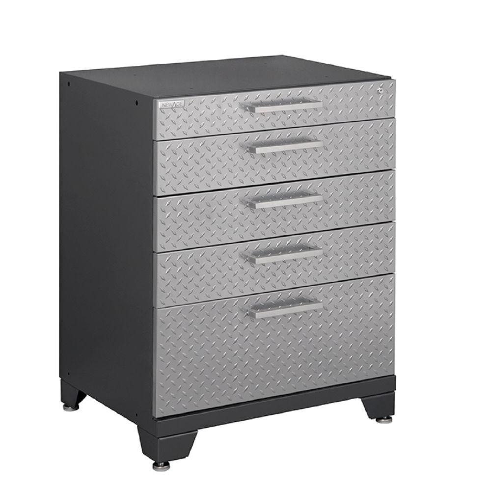 NewAge Products Performance Plus Diamond Plate 35 in. H x 28 in. W x 22 in. D Steel Tool Chest in Silver