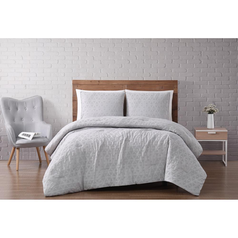 Brooklyn Loom Chicago Woven Diamond 2-Piece Grey Violet Twin XL Comforter