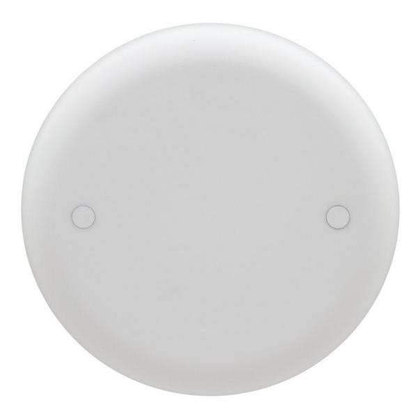 4 in. White Non-Metallic Round Blank Ceiling Box Cover