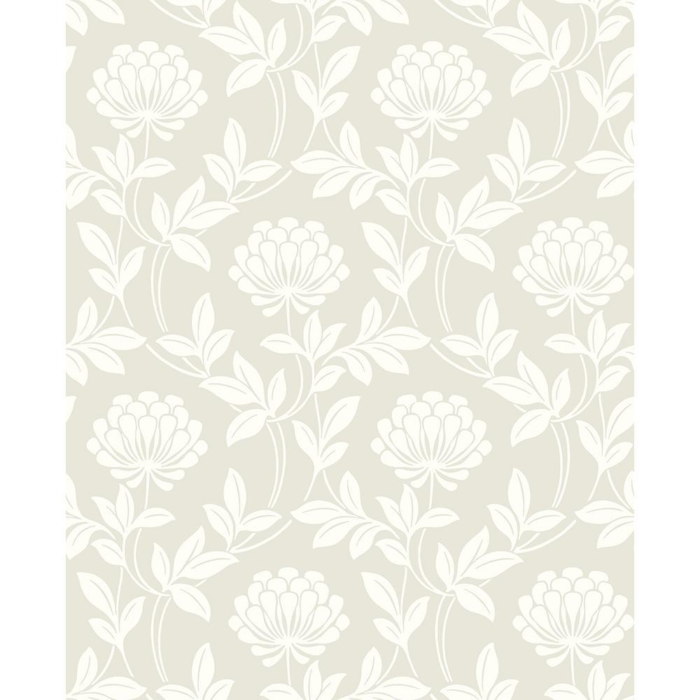 Advantage 56 4 Sq Ft Ogilvy Platinum Floral Wallpaper 2810 87715