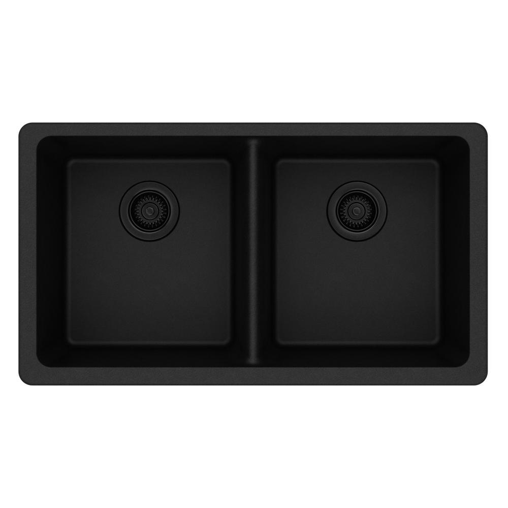 Black kitchen sinks kitchen the home depot quartz classic undermount composite 33 in double bowl kitchen sink in black workwithnaturefo