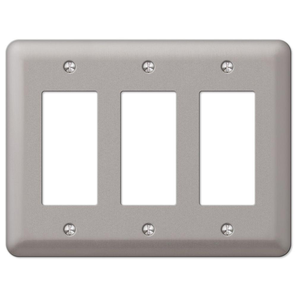 Hampton Bay Steel 3 Decora Wall Plate Pewter 2rrrpw