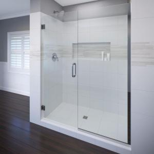 Celesta 58 in. x 76 in. Semi-Frameless Pivot Shower Door in Chrome with Handle