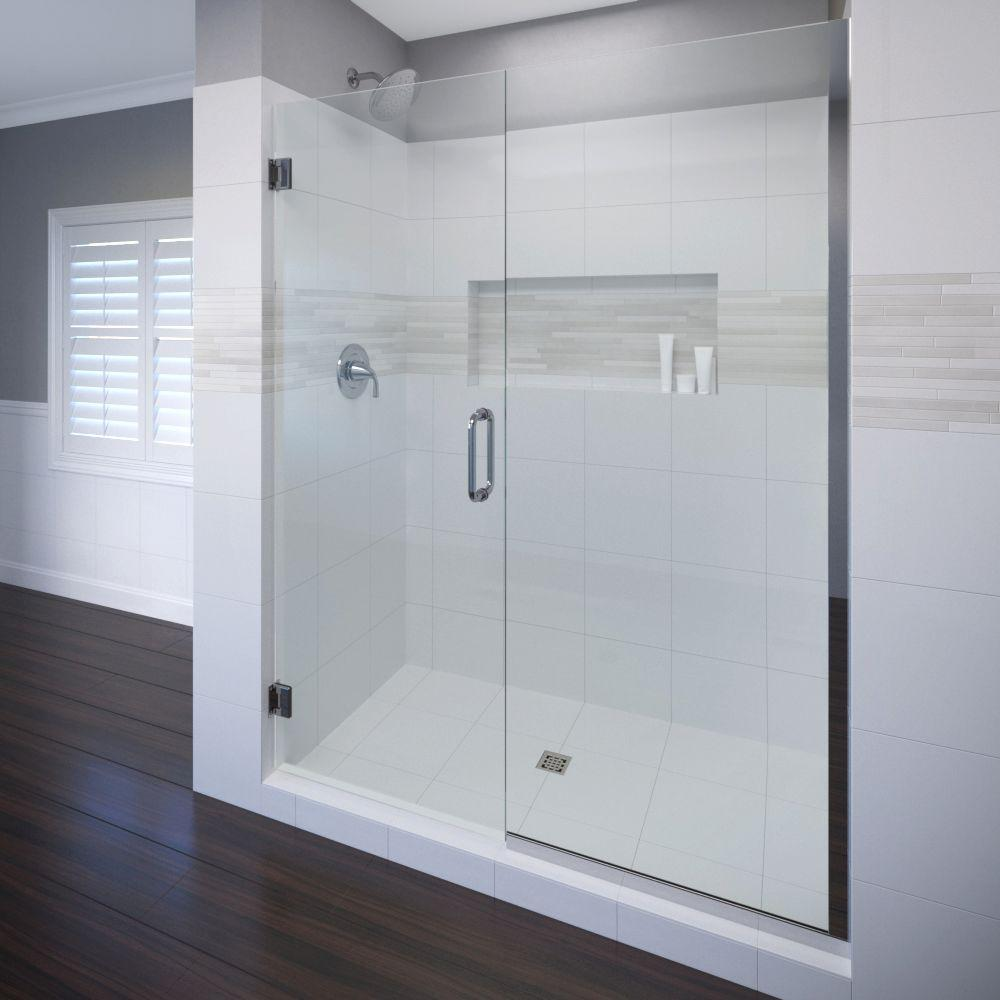 Frameless Hinged Shower Door And Panel.Basco Celesta 46 In X 76 In Semi Frameless Pivot Shower Door In Chrome With Handle