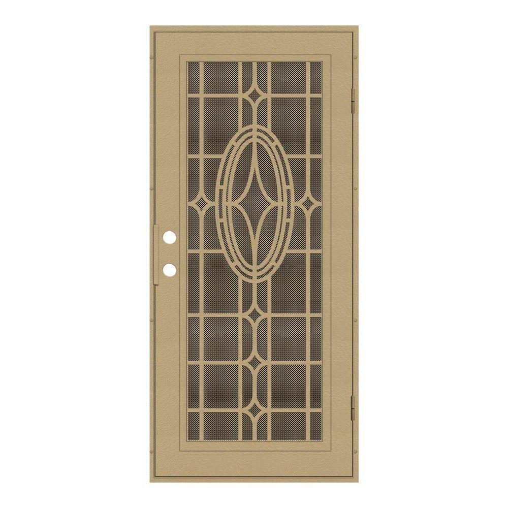 Unique Home Designs 36 in. x 80 in. Modern Cross Desert Sand Right-Hand Surface Mount Aluminum Security Door with Brown Perforated Screen