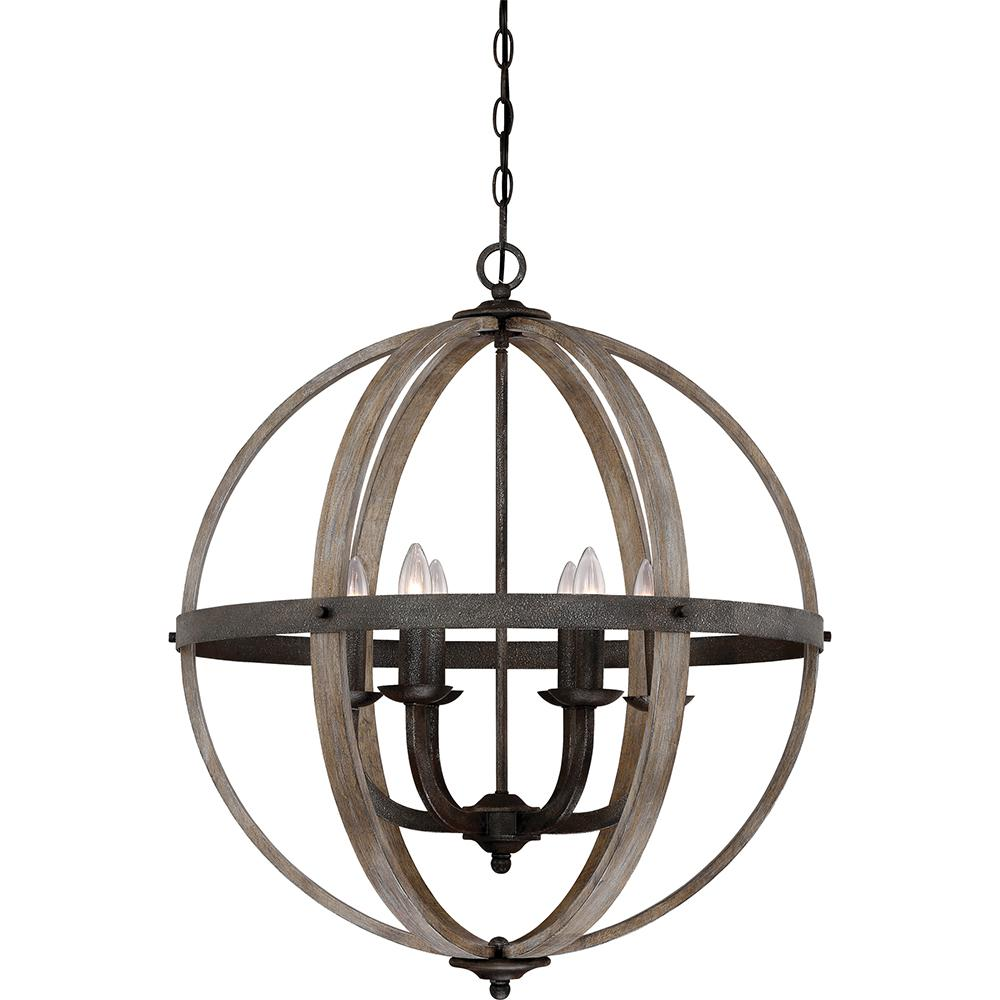 Fusion 6-Light Rustic Black Pendant