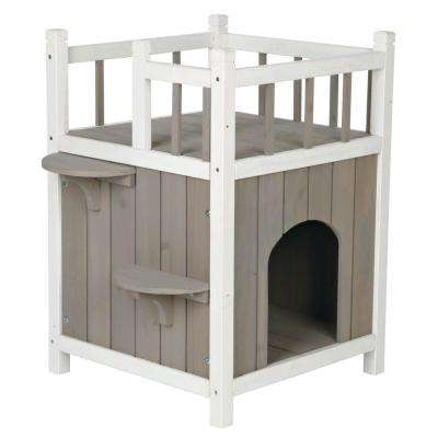 17.5 in. L x 17.5 in. W x 25.5 in. H Wooden Pet Home with Balcony