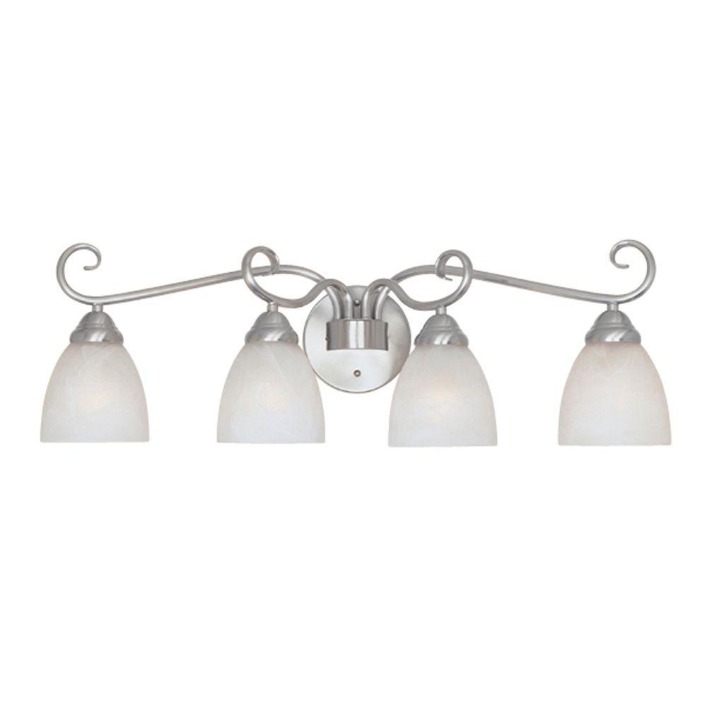 Belle Vista Collection 4-Light Satin Platinum Wall Mount Vanity Light