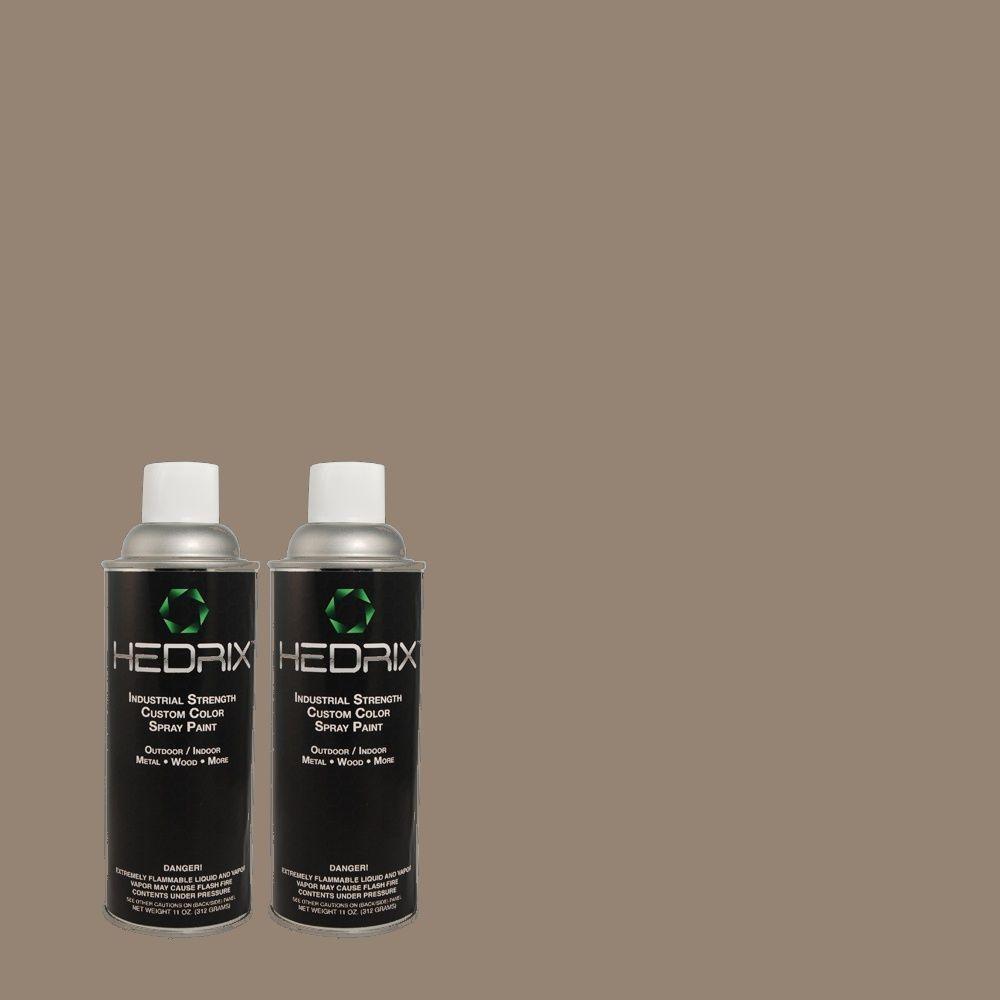 Hedrix 11 oz. Match of PPU18-17 Suede Gray Flat Custom Spray Paint (2-Pack)