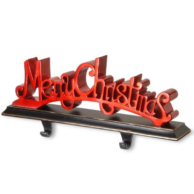 18 in. Polyresin Merry Christmas Red Decor includes Base and Hooks