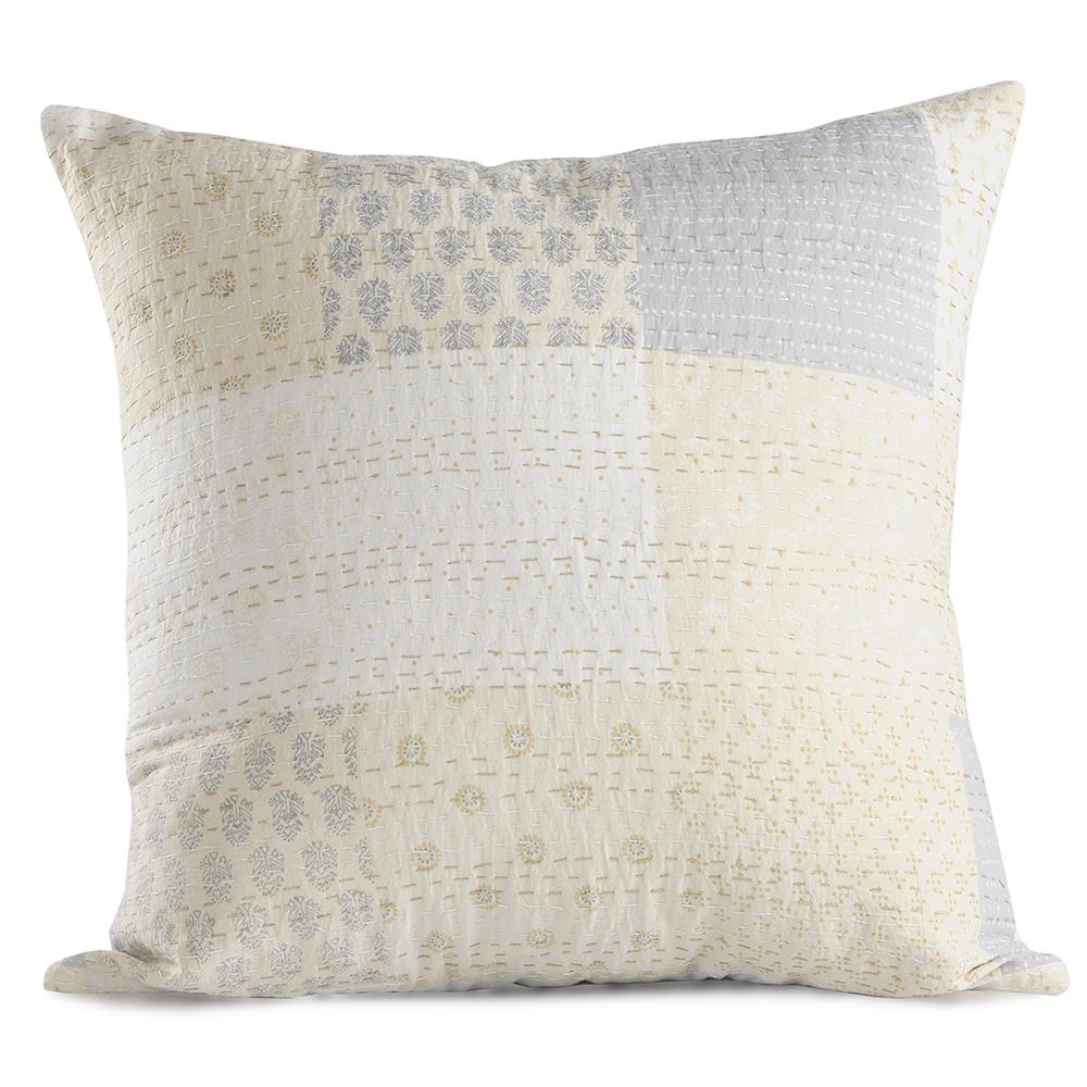 Kantha Cream Multicolored Graphic Hypoallergenic Polyester 20 in. x 20 in. Throw Pillow