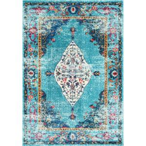 Veronica Oriental Persian Aqua 2 ft. x 3 ft. Area Rug