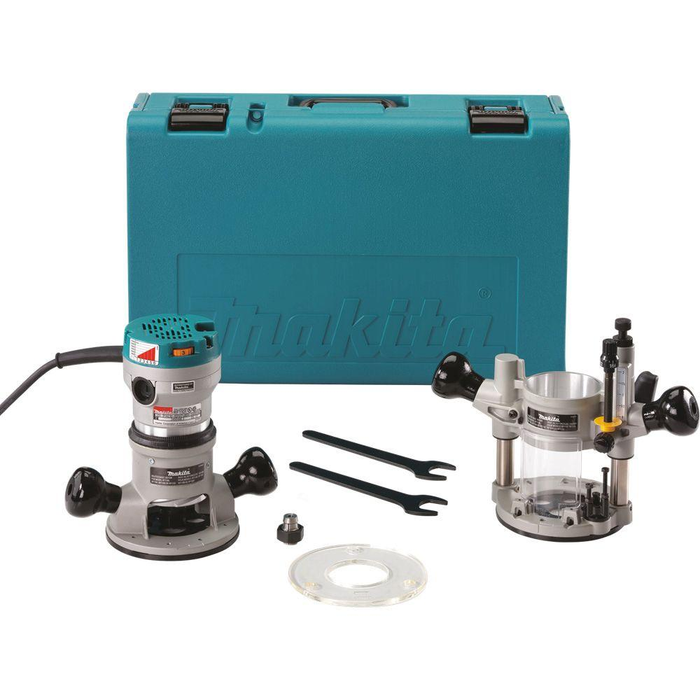 Makita 2 14 hp router kit with plunge base rf1101kit2 the home makita 2 14 hp router kit with plunge base rf1101kit2 the home depot greentooth Image collections