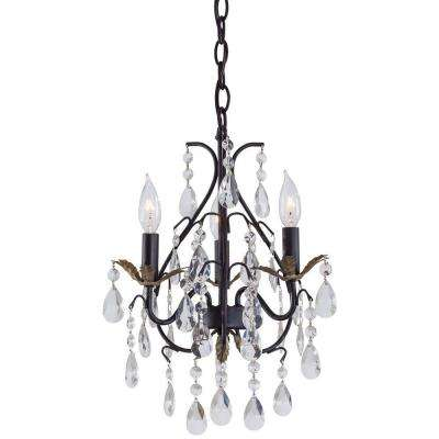 3-Light Castlewood Walnut Mini Chandelier
