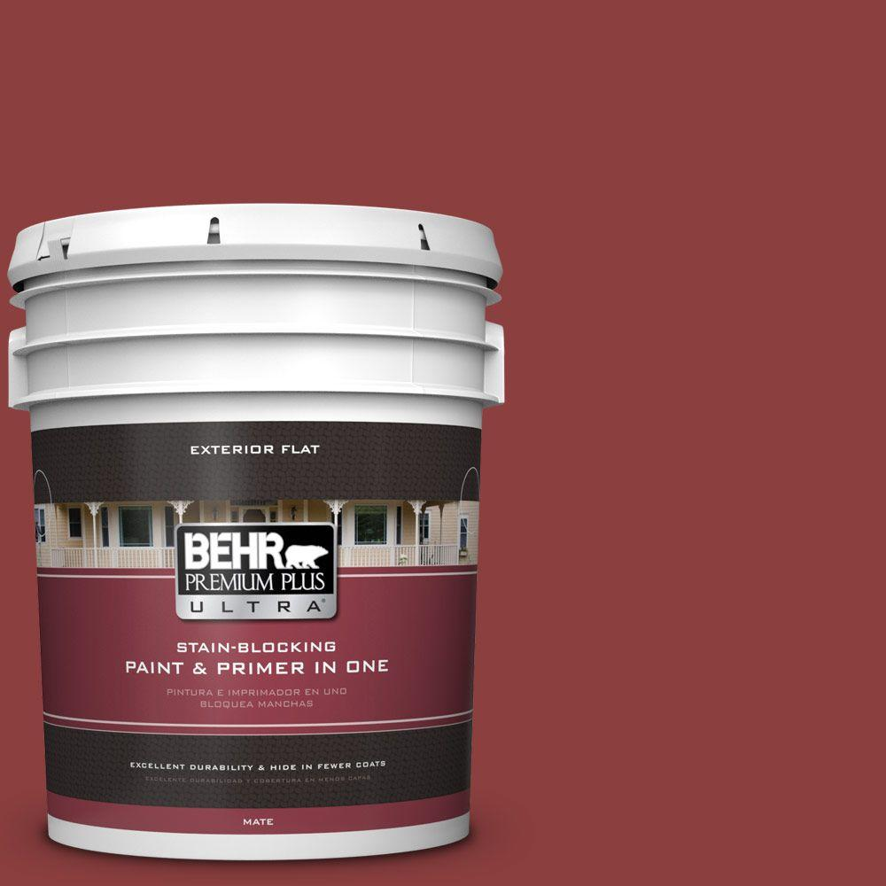 BEHR Premium Plus Ultra 5-gal. #BXC-27 Carriage Red Flat Exterior Paint