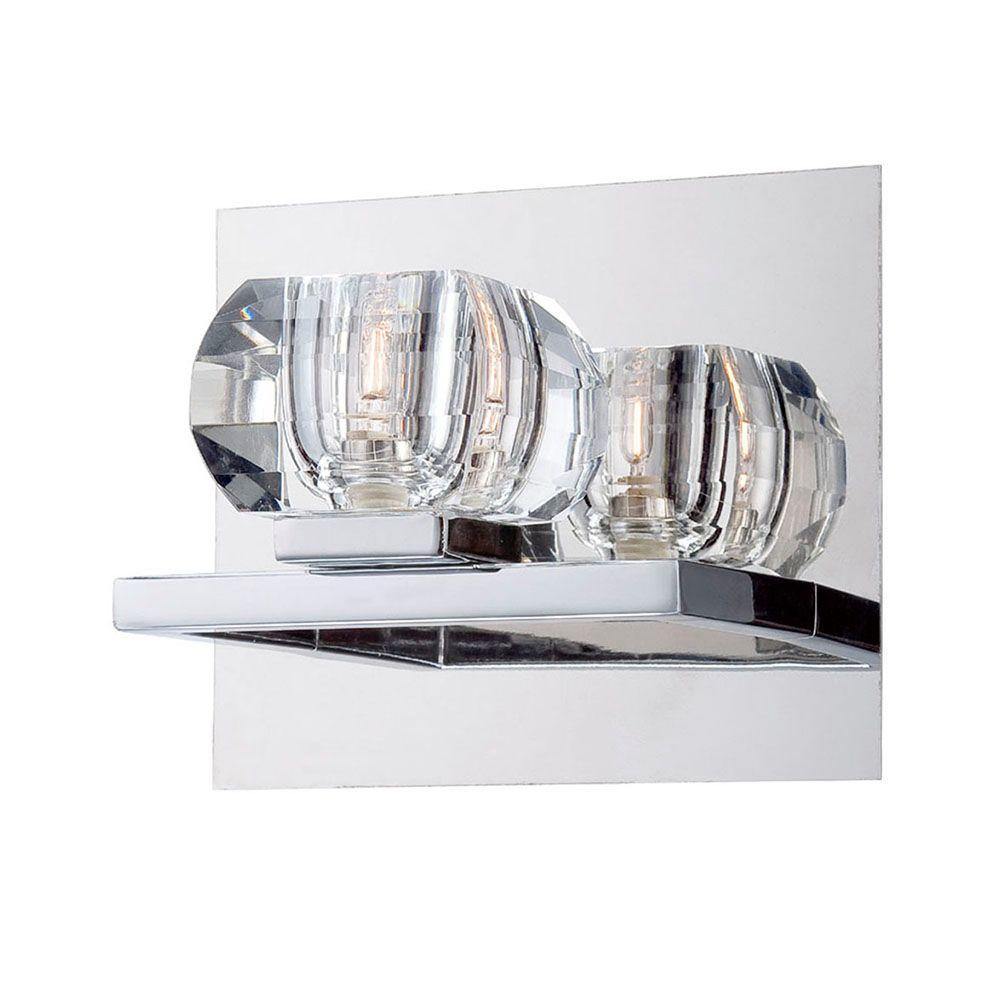 Casa Collection 1-Light Chrome and Clear Wall Sconce