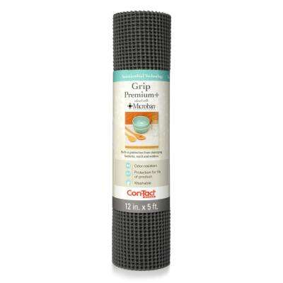 Grip Premium with Microban 12 in. x 5 ft. Graphite Non-Adhesive Thick Grip Drawer and Shelf Liner (6 Rolls)
