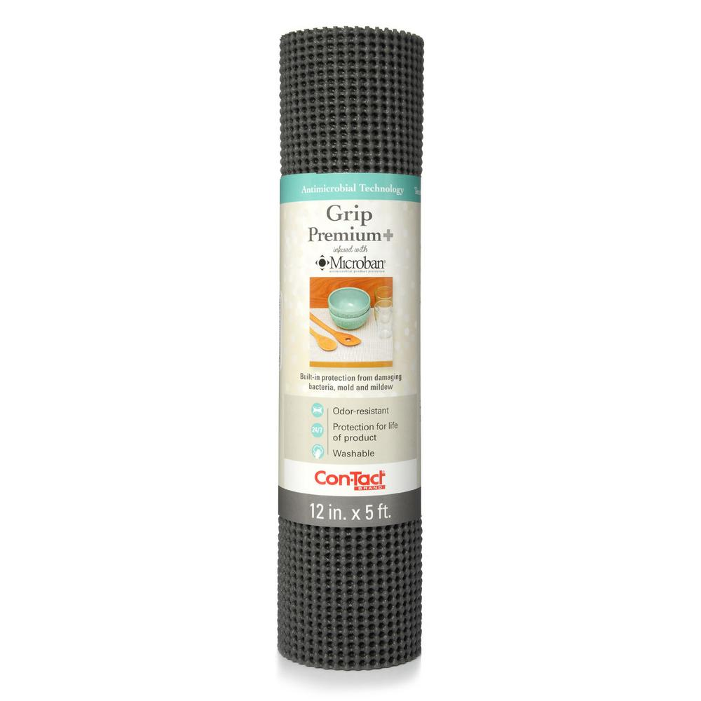 Grip Premium with Microban 12 in. x 5 ft. Graphite Non-Adhesive
