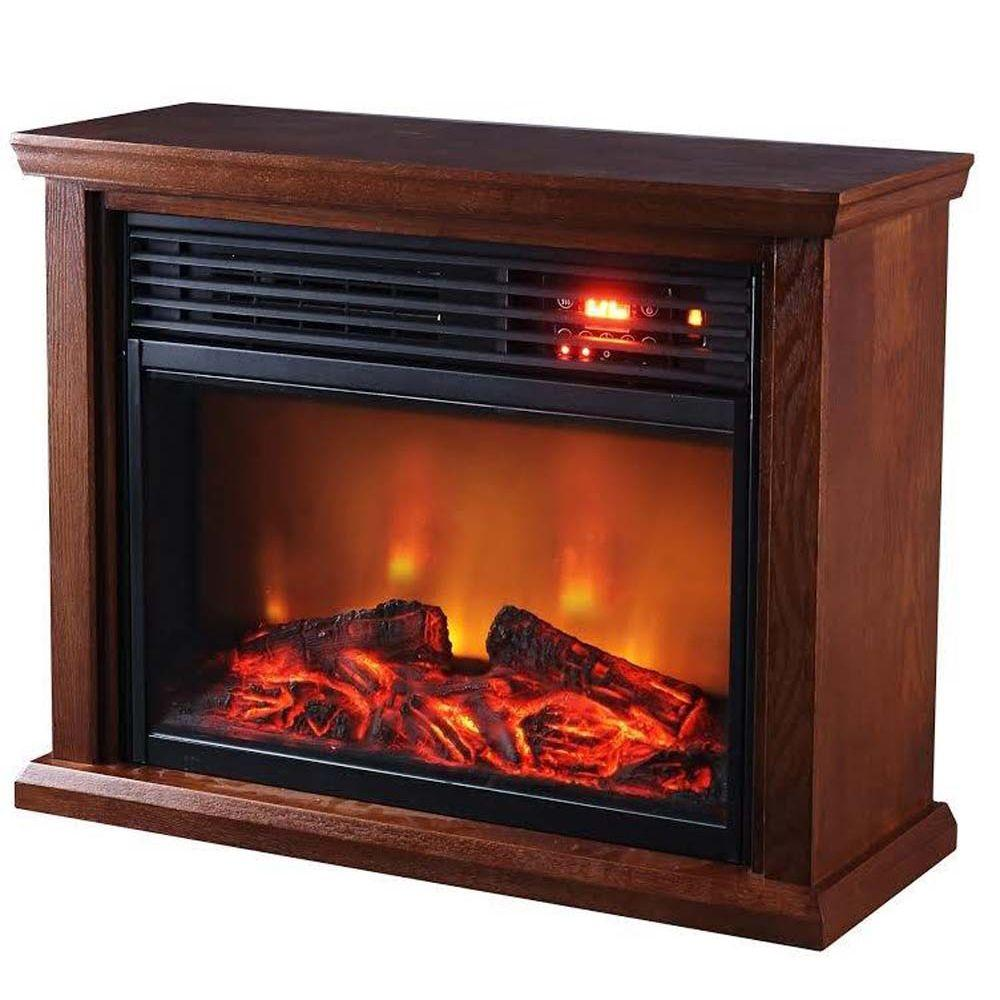 SUNHEAT Patented Heat Exchanger Large Room Infrared Dark Oak Fireplace Heater creates a cozy atmosphere in any area of your home. Includes a remote.