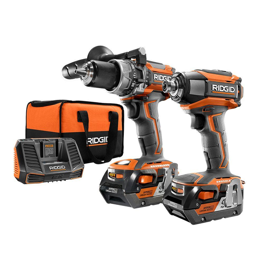 18 Volt Lithium Ion Cordless Brushless Hammer Drill And Impact Driver 2 Tool Combo Kit With 4 0ah Batteries Charger