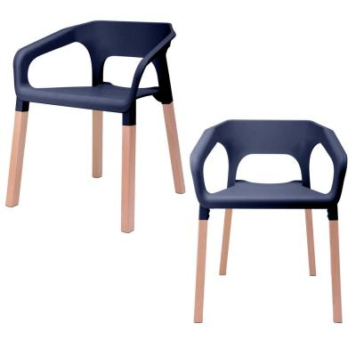 Amy Series Navy Modern Accent Dining Arm Chair with Beech Wood Leg (Set of 2)