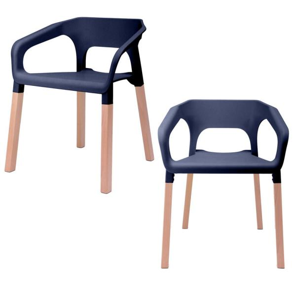 CozyBlock Amy Series Navy Modern Accent Dining Arm Chair with Beech