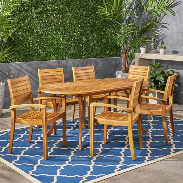 Noble House Holloway Teak Brown 7 Piece Wood Outdoor Dining Set 54225 The Home Depot