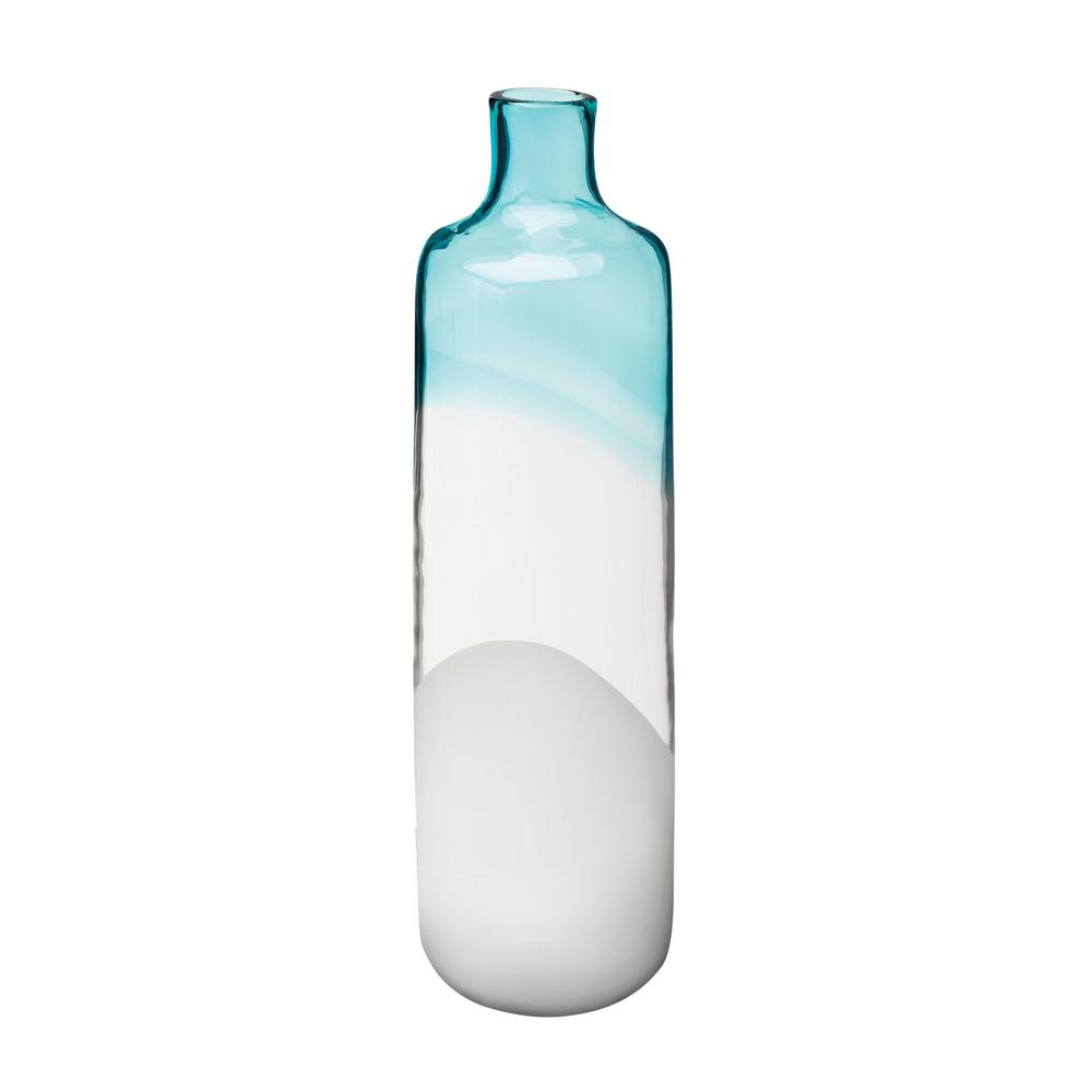 18 in. Clouds and Sky Glass Decorative Vase in Blue and