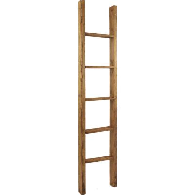 15 in. x 72 in. x 3 1/2 in. Barnwood Decor Collection Weathered Brown Vintage Farmhouse 5-Rung Ladder