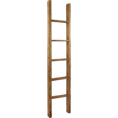 19 in. x 36 in. x 3 1/2 in. Barnwood Decor Collection Weathered Brown Vintage Farmhouse 2-Rung Ladder