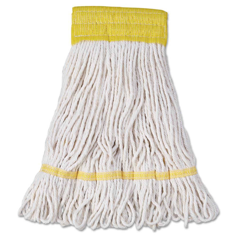 Mop Head, Super Loop Head, Cotton/Synthetic Fiber, Small, White, 12/Carton