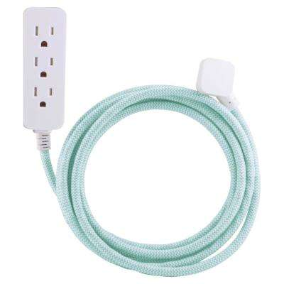 10 ft. Decor Extension Cord with 3 Grounded Outlets Surge Protection, Mint/White