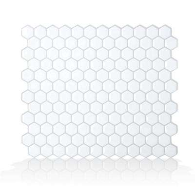 Hexago White 11.27 in. W x 9.64 in. H Peel and Stick Self-Adhesive Decorative Mosaic Wall Tile Backsplash (6-Pack)