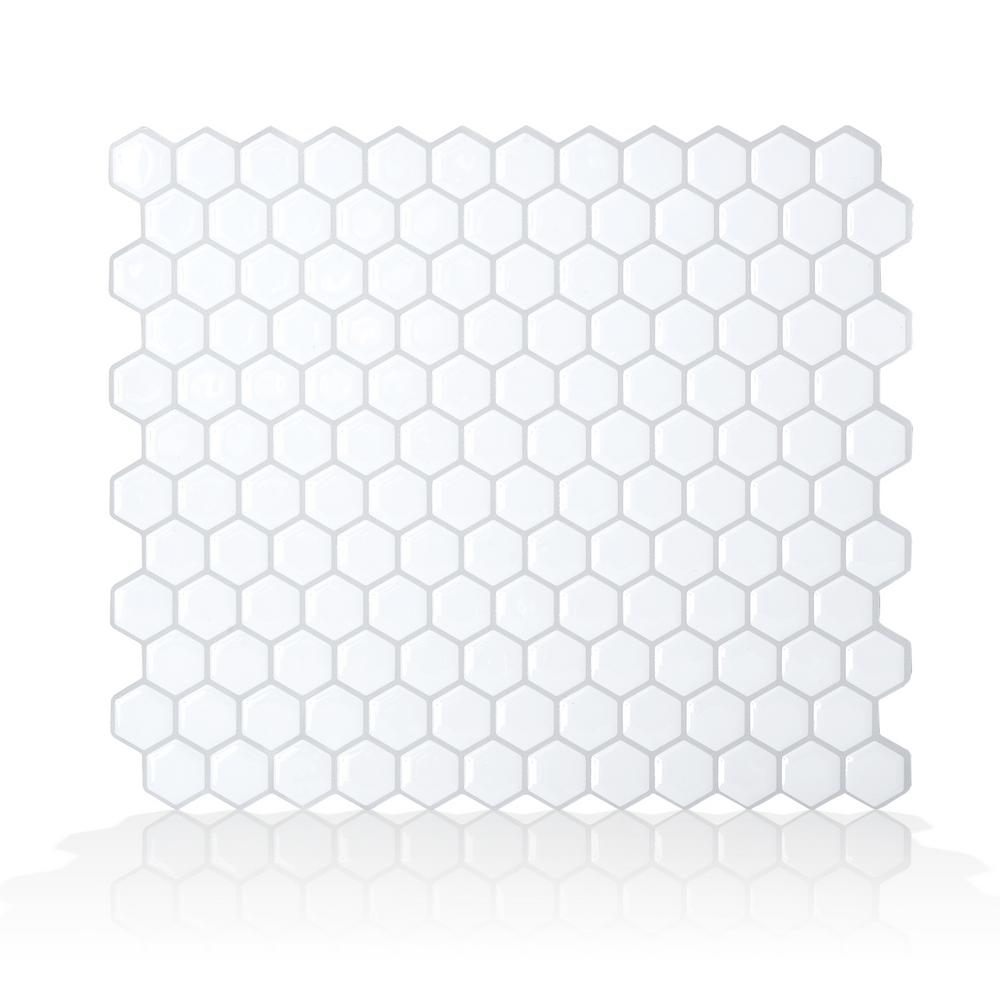 Smart Tiles Hexago White 11.27 in. W x 9.64 in. H Peel and Stick Self-Adhesive Decorative Mosaic Wall Tile Backsplash (6-Pack)