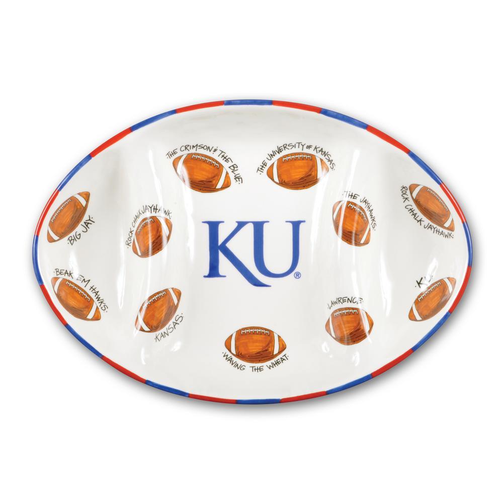 Kansas Ceramic Football Tailgating Platter