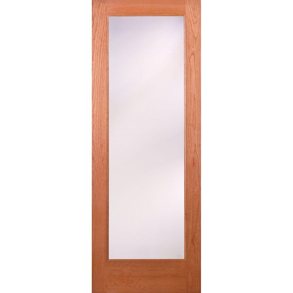 32 in. x 80 in. 1 Lite Unfinished Cherry Privacy Woodgrain Interior Door Slab