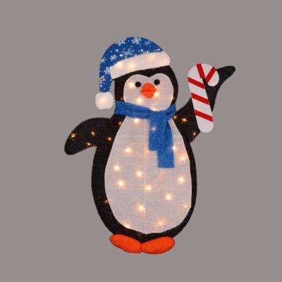 42 in. Christmas Pre-Lit Penguin with Candy Cane Winter Outdoor Decoration