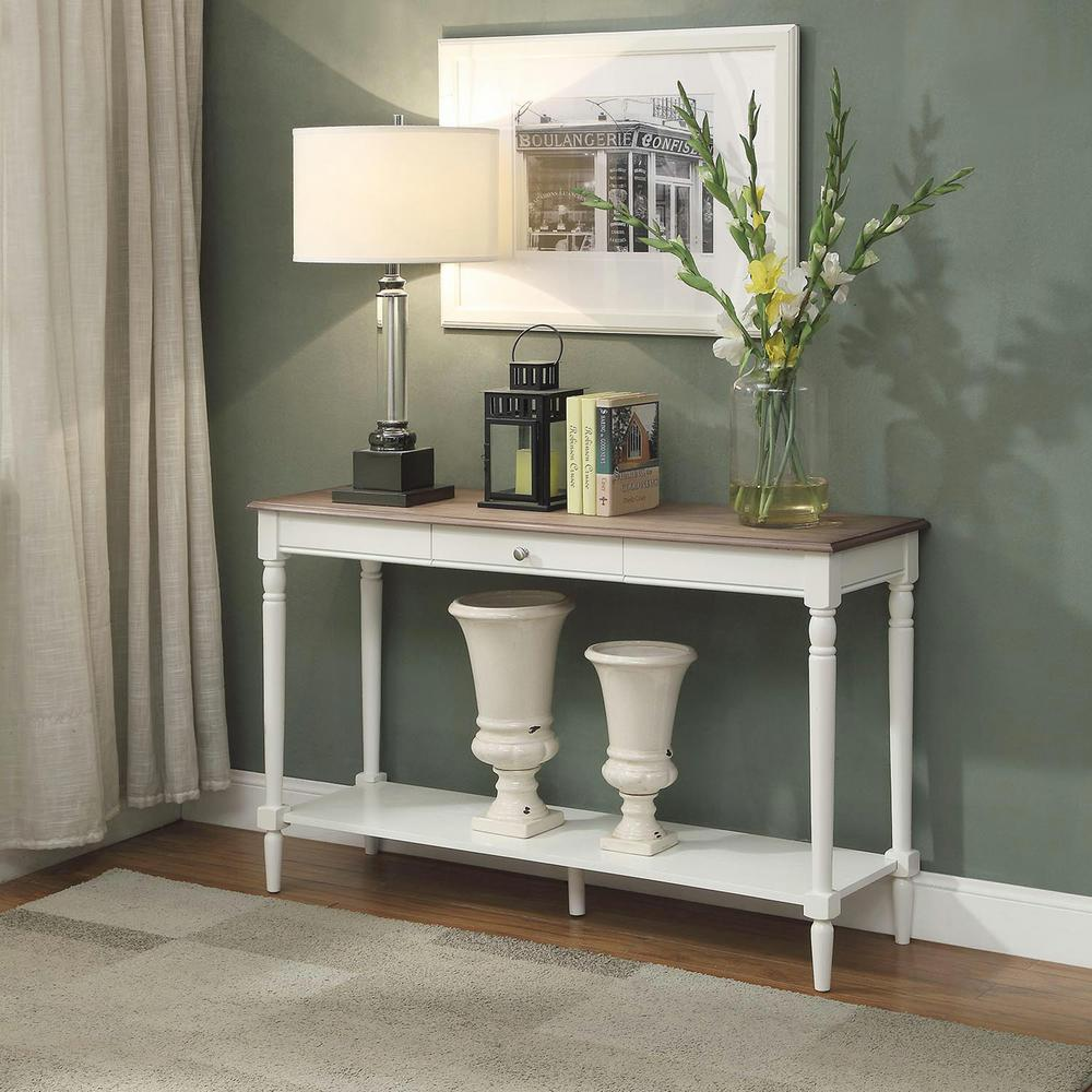 Convenience concepts french country espresso hall table 6042188es french country driftwood and white console table geotapseo Images