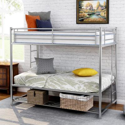 Silver Twin Over Twin Bunk Bed with Storage Shelf