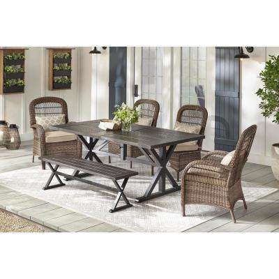 Beacon Park 6-Piece Brown Wicker Outdoor Dining Set with Toffee Cushions
