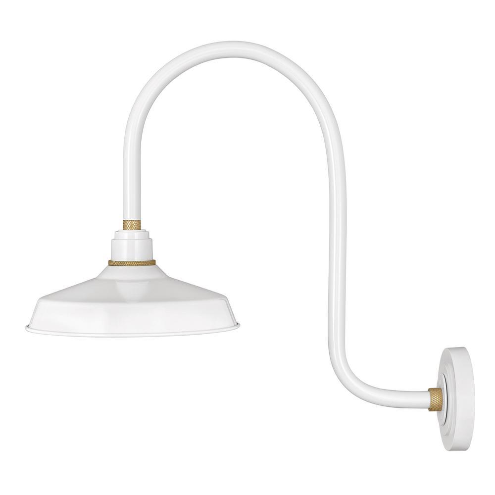 buy online f25a0 b1dec Hinkley Lighting Foundry Large 1-Light Gloss White Gooseneck Outdoor Wall  Sconce